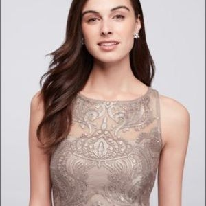 Adrianna Papell Silver Beaded Dress